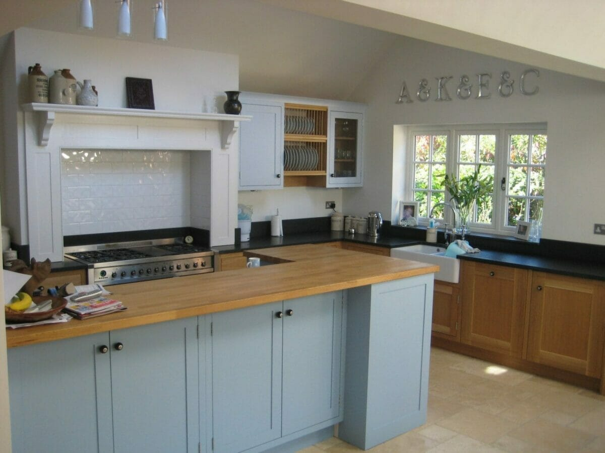 Butchers Block Worktop >> Burcott, Buckinghamshire Painted and Oak Shaker Kitchen - Higham Furniture