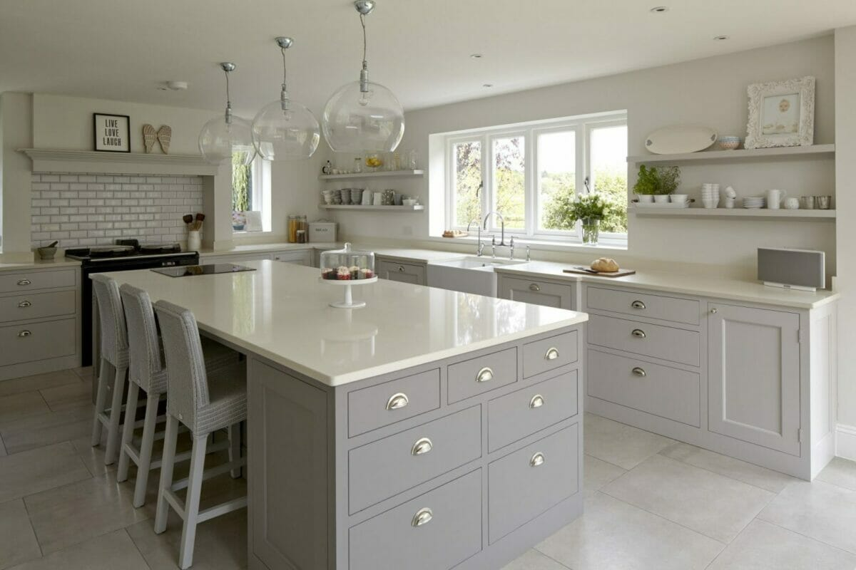 Cool Grey Hertfordshire Kitchen With Traditional Aga